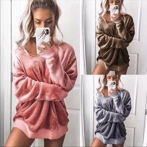 Tops - 🎉HP🎉Fashion Velvety Oversize Pullover Sweatshirt